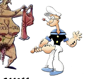Old grandmom and sailor Popeye
